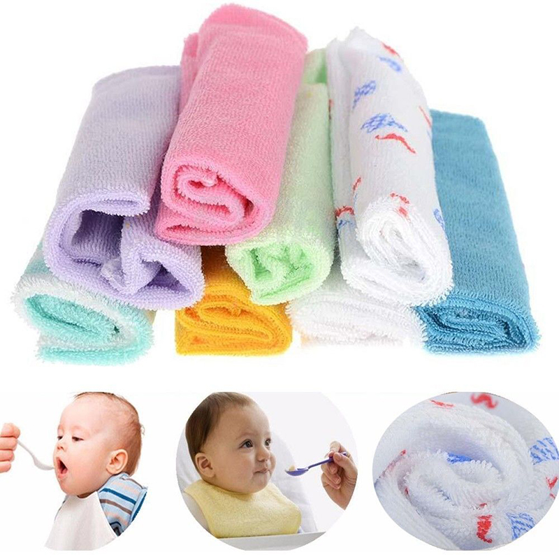 Bath & Shower Product Baby Care Cotton Four Packs Two-color Small Towel Newborn Square Towel Super Soft Absorbent Baby Baby Wash Lattice Face Towel Evident Effect