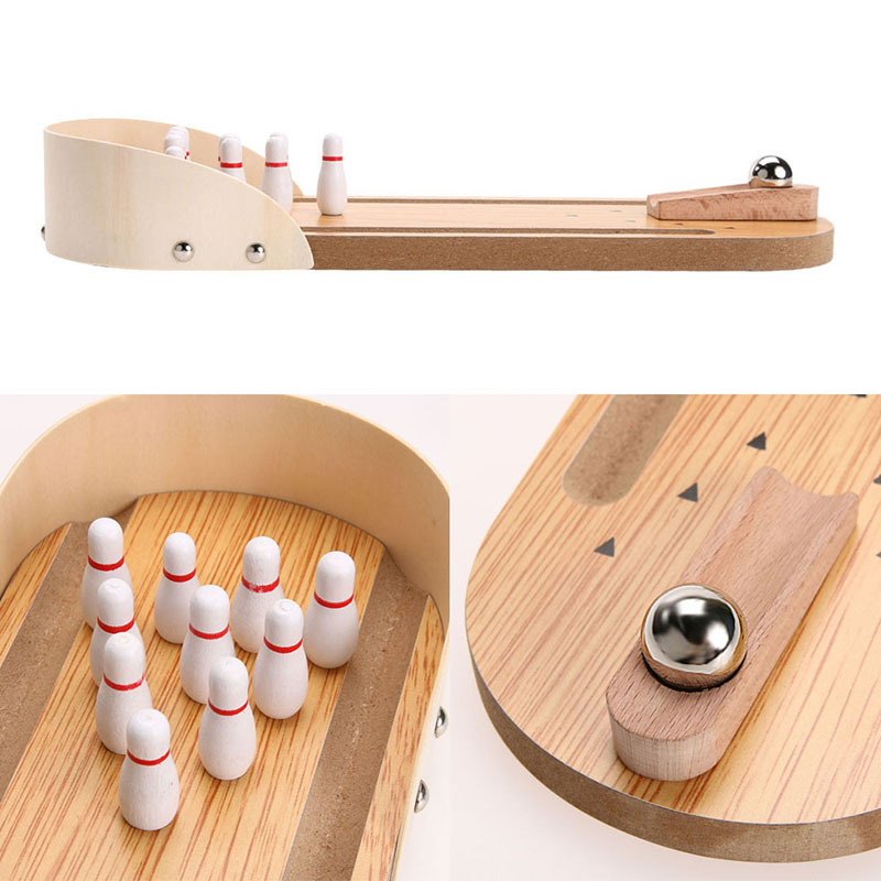 Wooden bowling alley ten metal pin ball desk toys mini