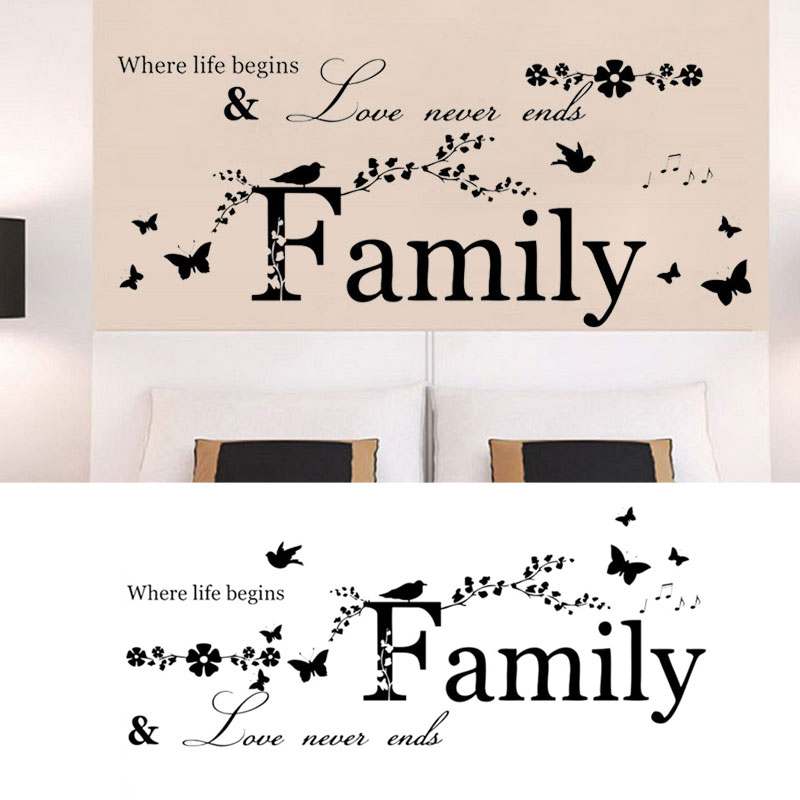 Family quote removable wall stickers decal art vinyl mural for Thank you mural