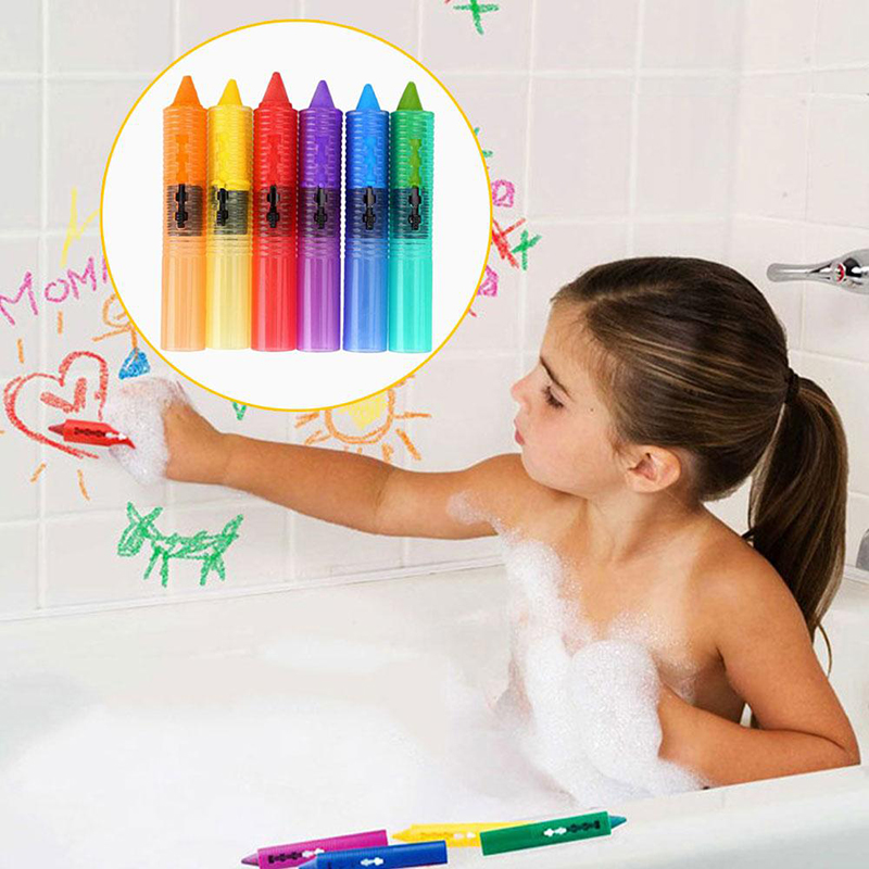 6pcs colors non toxic safe washable baby bathtub crayons fun kids educational ebay. Black Bedroom Furniture Sets. Home Design Ideas