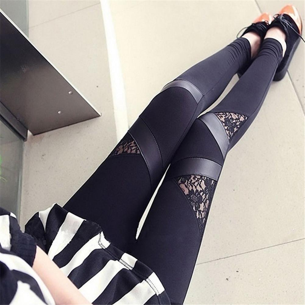 Damen Faux Leder Mesh Lace Skinny Slim Hosen Stretch Leggings Pencil Hose Mode