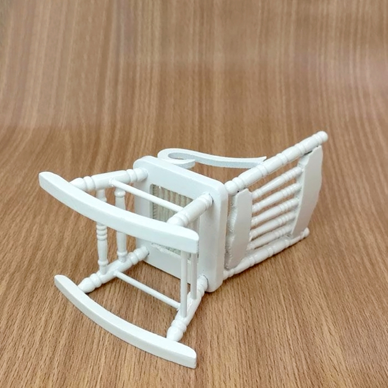 Details about White Wood Rocking Chair for 1:12 Doll House Miniature ...
