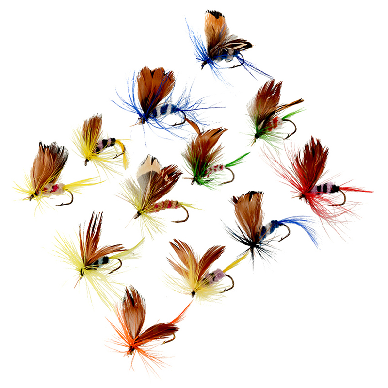 12Pcs  2cm Wet Dry Trout Flies Fly Fishing Bass Lure Hook Stream Tackle 201 J7X1