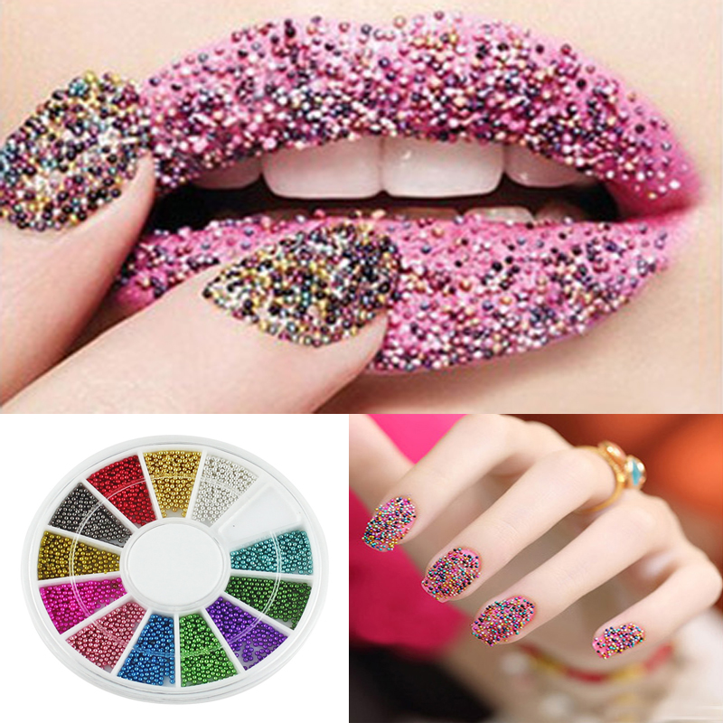 Nail Art 12 Color Steel Beads Studs For Nails Metal Caviar Wheel 3D ...