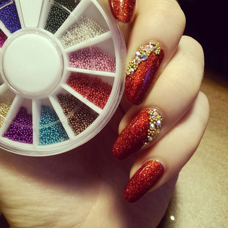 Glitter Caviar Mini Micro Beads Tips Nail Art Acrylic Bead Stickers 12 Colors Ebay