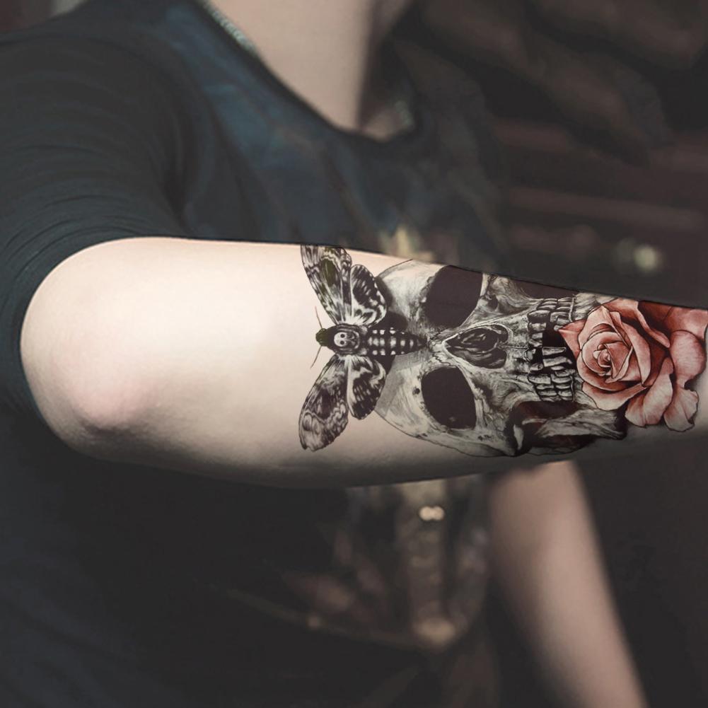 3d temporary tattoos red rose skull body art tattoo for Fake body tattoos