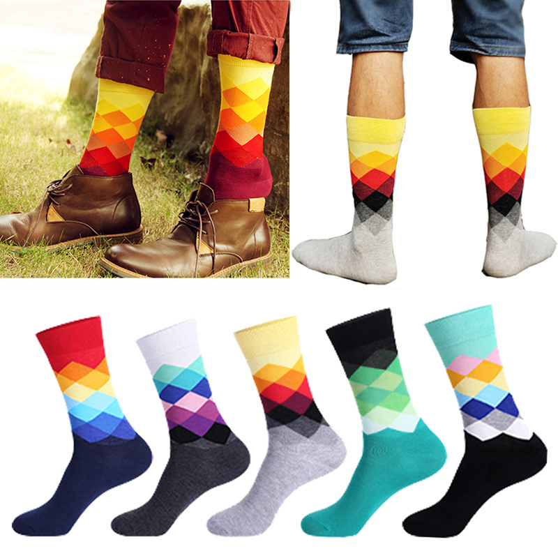 portable mens colorful cotton happy socks warm diamond