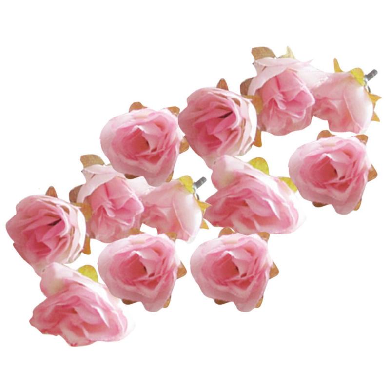 50stkk nstliche seide rosen k pfe haus zimmer hochzeit blumendekoration rosa ebay. Black Bedroom Furniture Sets. Home Design Ideas