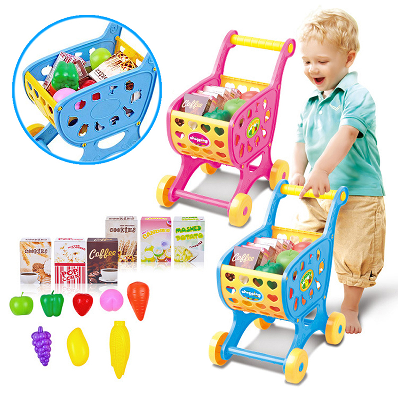kids supermarket mini shopping cart with full grocery food playhouse toy playset ebay. Black Bedroom Furniture Sets. Home Design Ideas