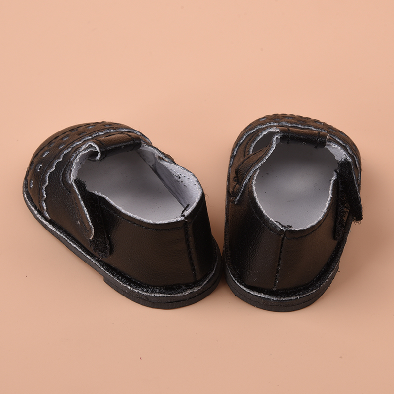 1Pair Handmade Fashion Black PU Shoes Clothes For 16 inch Gifts Doll Toy L1F7