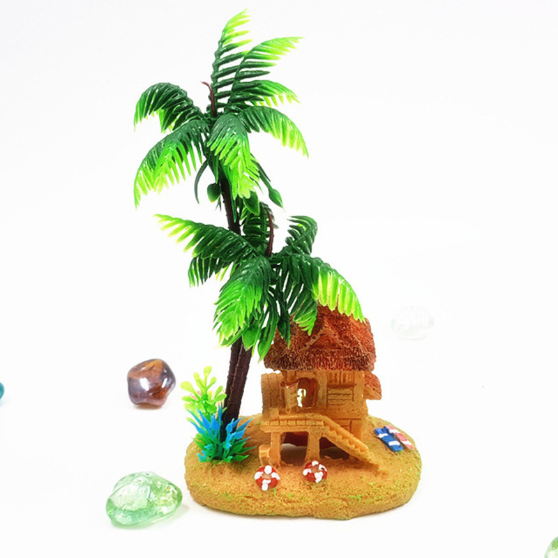 Beach house palm tree aquarium ornament fish tank for Beach house description