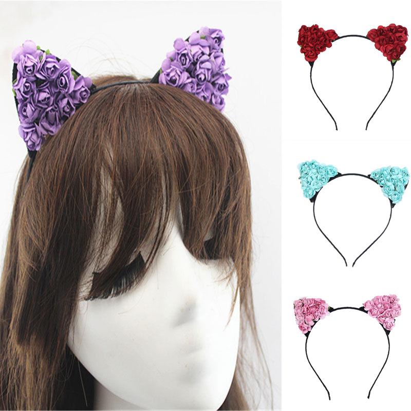 Katzenohren Haarreif Katzen Ohren Kostüm Fasching  Haar Damen Band ~