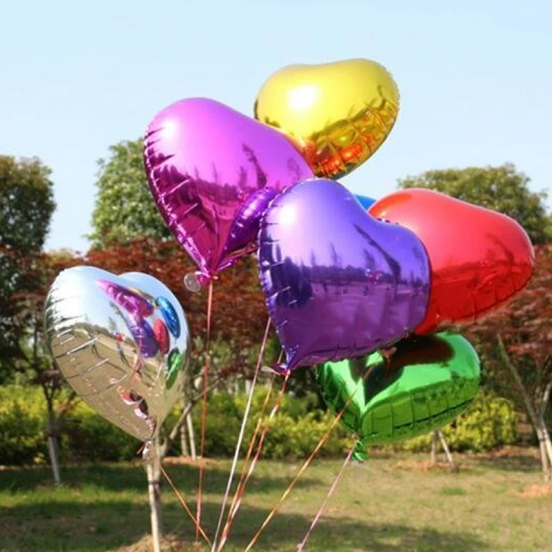 5Stk Bunte Liebe Herz Folie Helium-Ballons Hochzeit Party Geburtstagsfeier Dekor