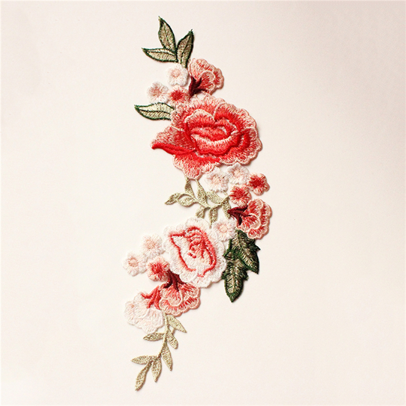 Pink Rose Flower Embroidery Applique Cloth Patch DIY on Iron /& Sewing Dress L9S8
