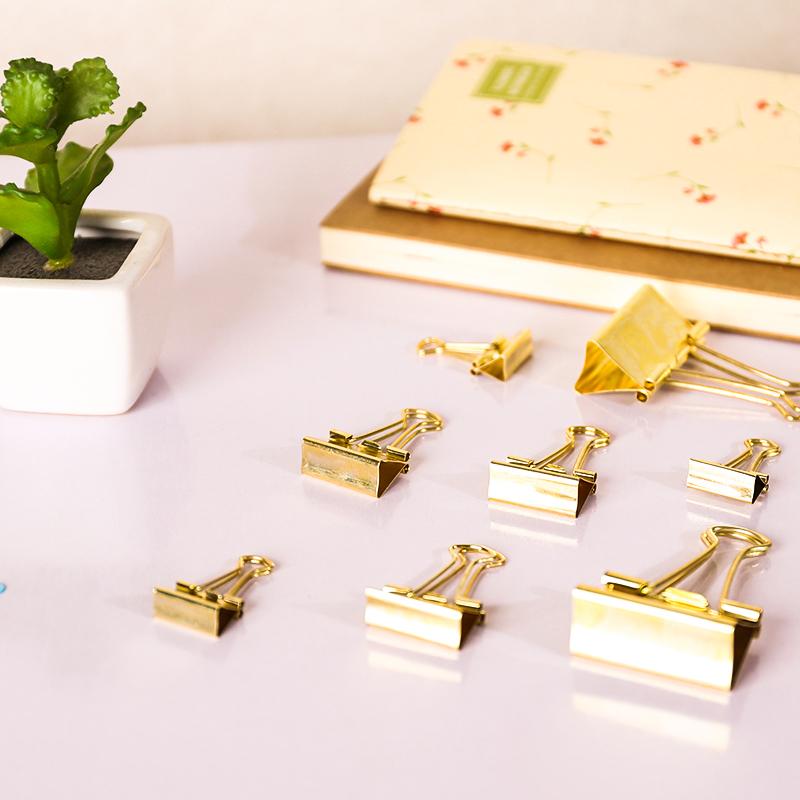 Hot 40Stk 19MM Solid Color Gold Metall Binder Clip für Datei Papier Fast