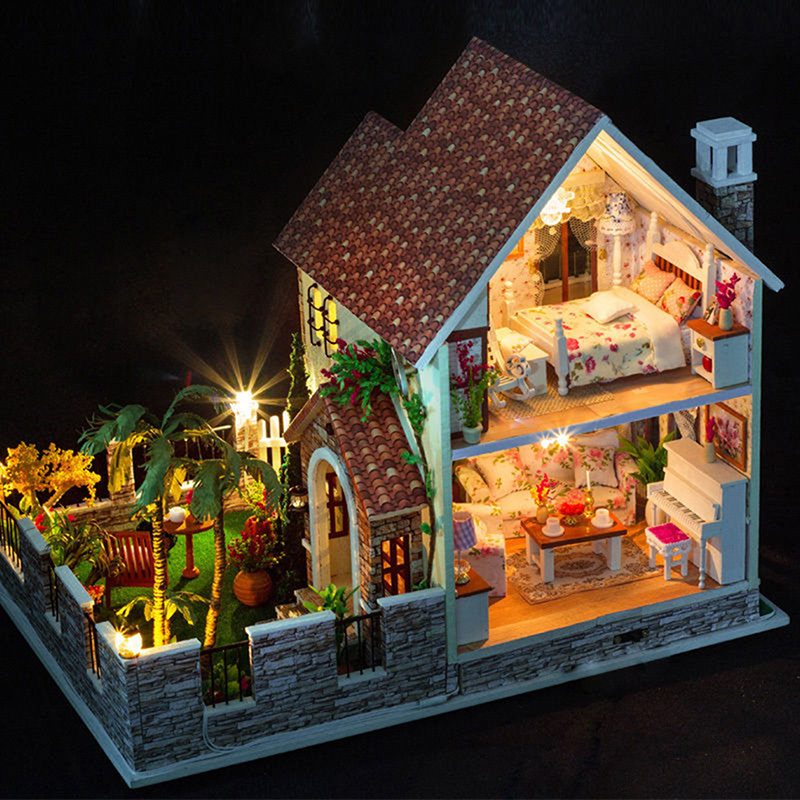 kit wood dollhouse miniature diy led music house large. Black Bedroom Furniture Sets. Home Design Ideas
