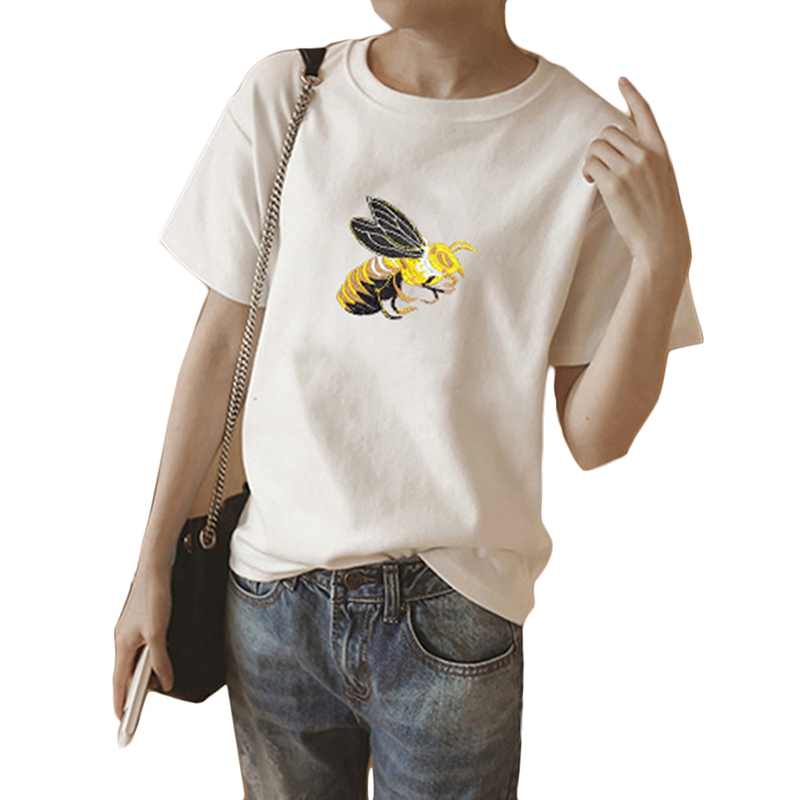 Women s casual bee embroidery short sleeve blouse ladies