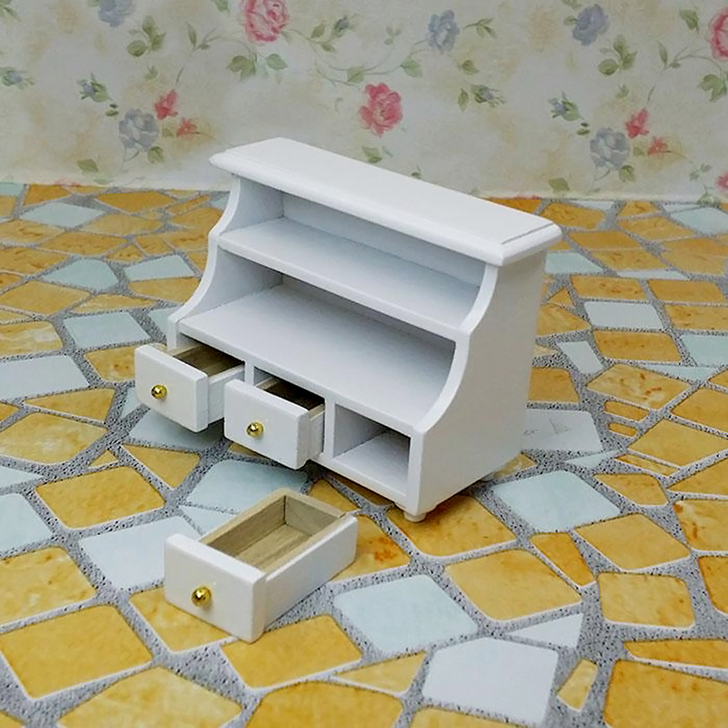 1//12 Dollhouse Miniature Furniture Bathroom Cabinet Toilet Cabinet White B8V8