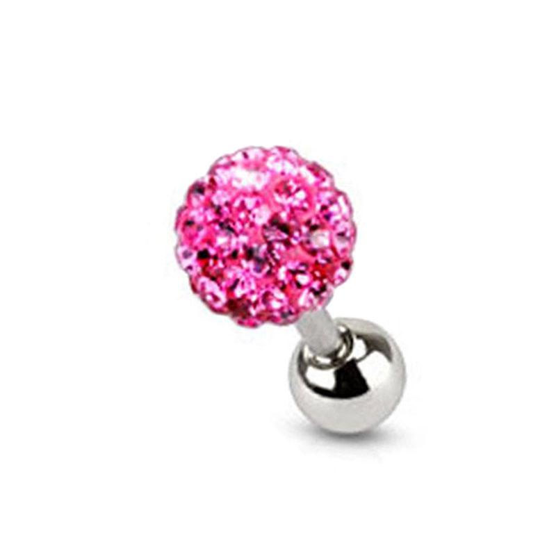 Chirurgisch tehlen Czech Kristall Hantel Bar Zunge Ring-tecken-Piercing-tift