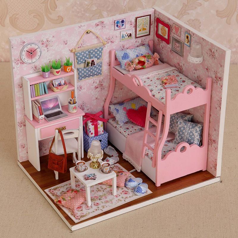 Puppe haus m bel kinder diy miniatur 3d h lzern puppenhaus for Puppenhaus beleuchtung set