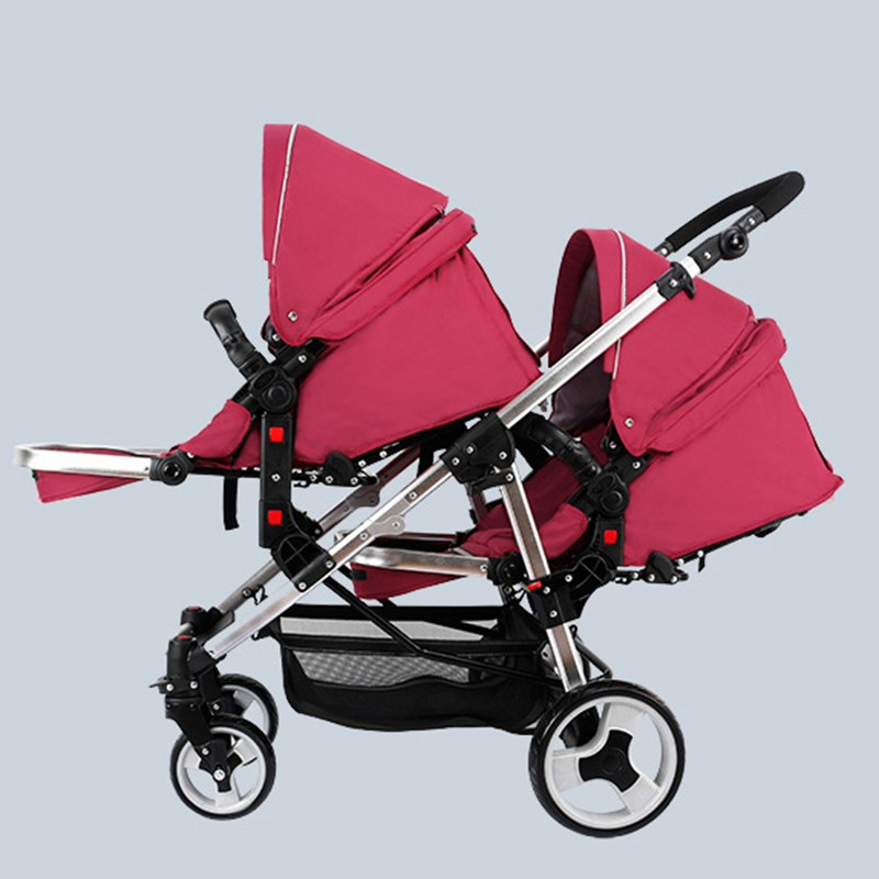 Twin Prams Travel Systems: Lightest Twins Baby Stroller Portable Carriage Double