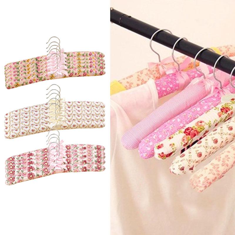 Swivel Hook Sponge Cotton Satin Padded Coat Clothes Shirt Hangers Suit Dres D0J1