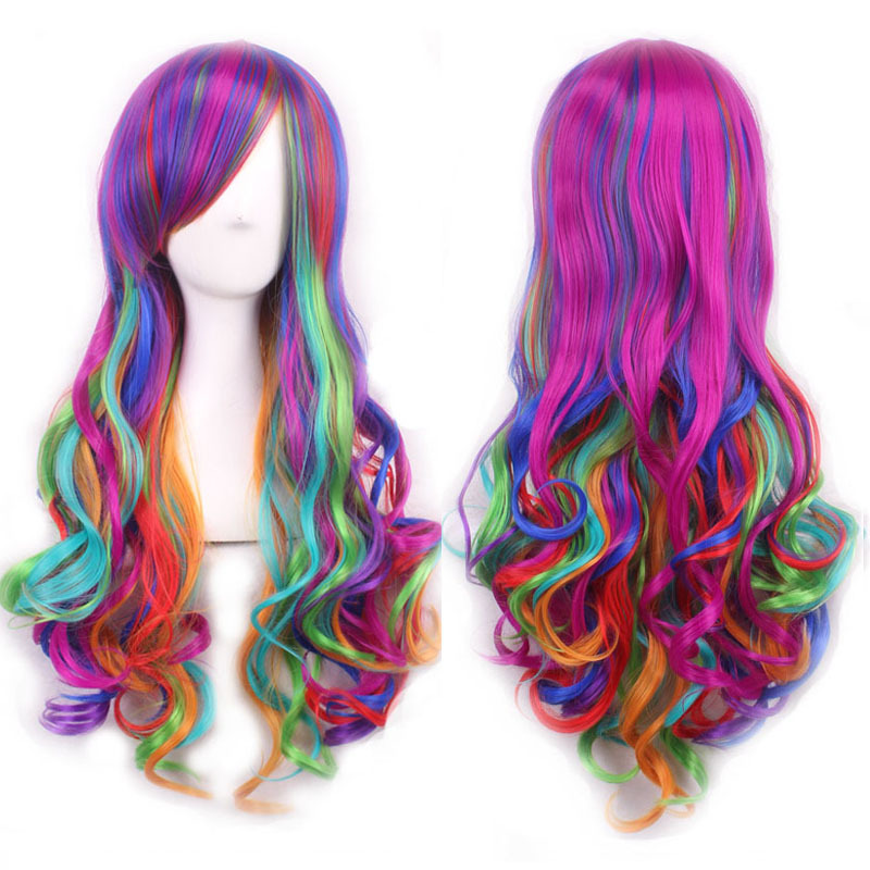 Details about Fashion Long Curly Wavy Rainbow Wigs Women s Cosplay Costume  Full Wig w  faafec7d6211