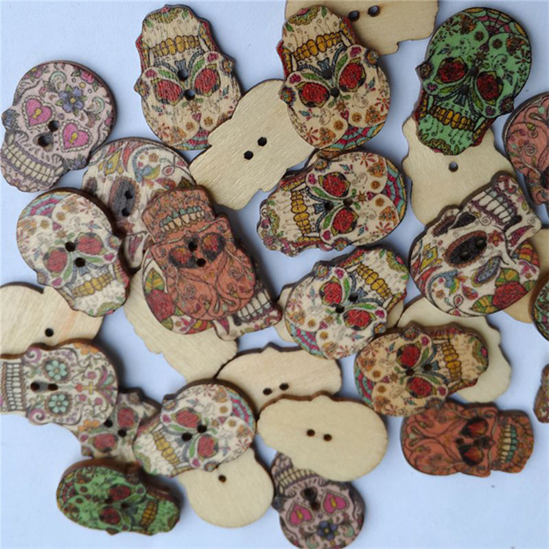 50pcs Skull Head Wood Buttons 22*27mm Sewing Craft Mix Lots WB243