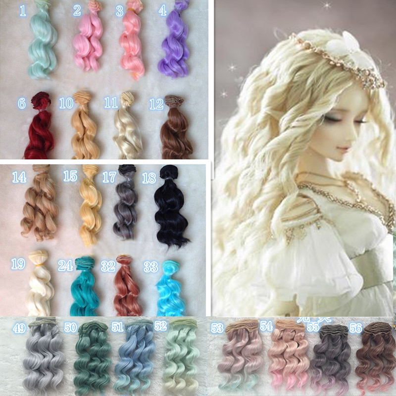 15cm diy curly doll wigs High Temperature Wire doll hair for 1//3 1//4 1//6 BJD X