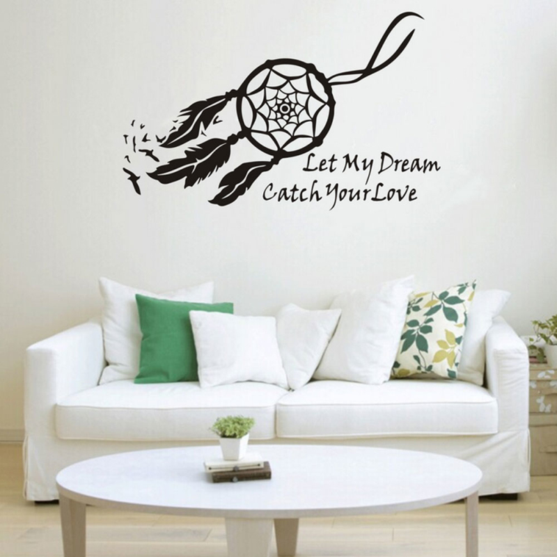 Wall Sticker Dream Catcher Feather Black Decal Art Home