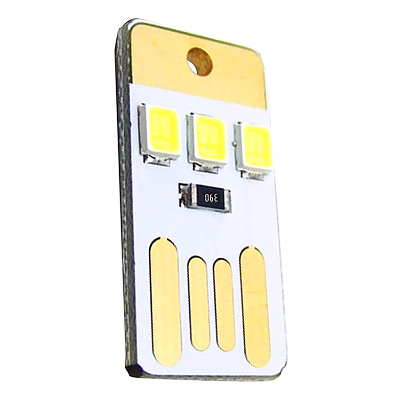 5*Mini Portable USB 3LED Light Pocket Card Lamp Night Keychain Torch Power Ullm