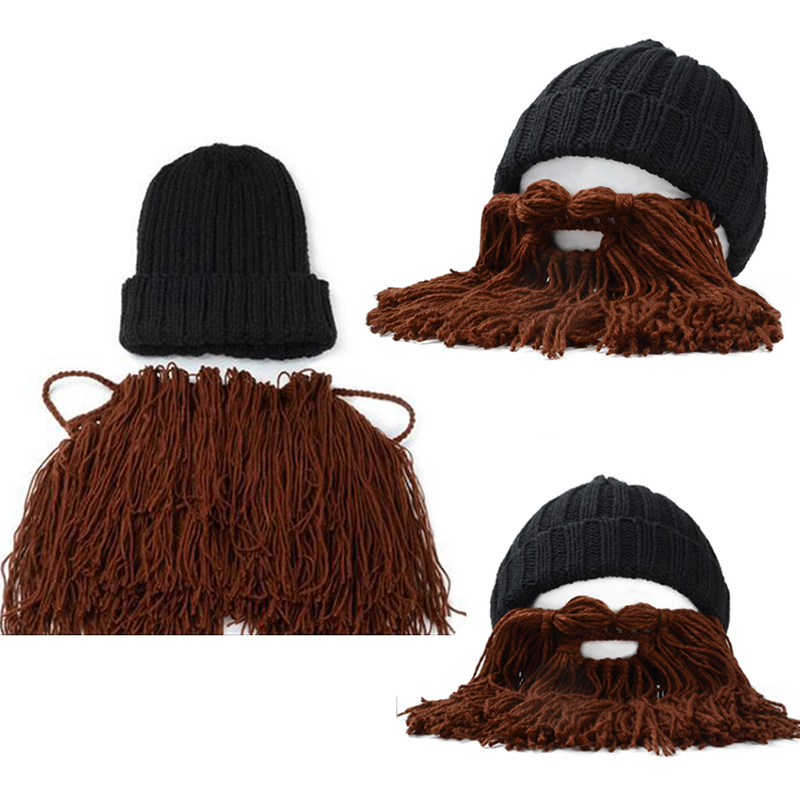 Männer Häkeln gestrickt Wikinger Horn Balaclava Hut mit Bart Maske ...