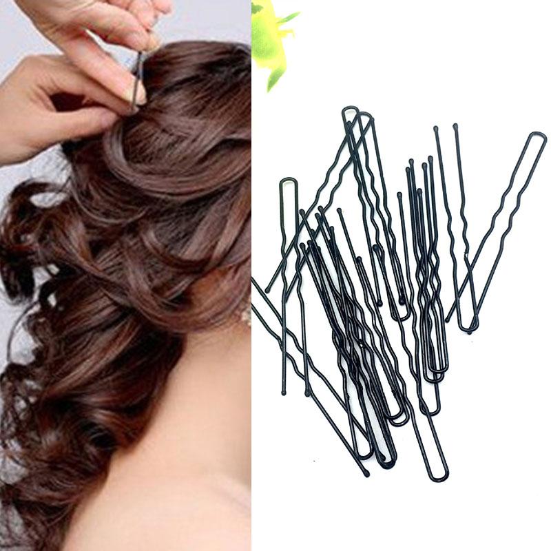 45Pcs Long 6.0CM U Black Hair Bobby Pins Grips Hair Clip