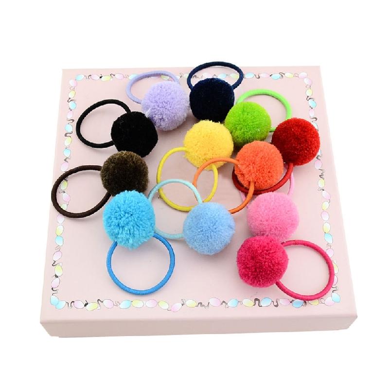 Mode Frauen weichen Fellknäuel Pompon Haar Seil Mädchen Ring Haar elastisch M8X9