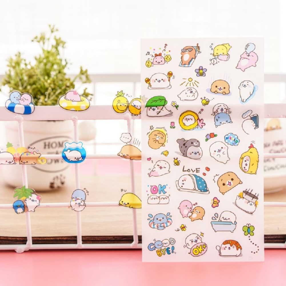 6Pcs Karikatur Tagebuch Sticker Aufkleber Deko Kawaii-Scrapbooking A9D0