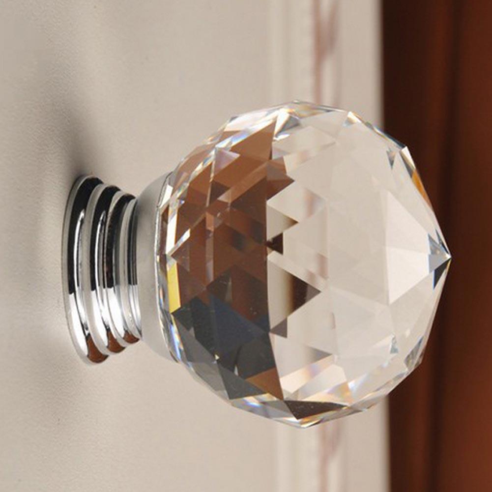 l003-20mm水晶球拉手 廠家現貨批發單孔抽屜玻璃把手 透明水晶球拉手