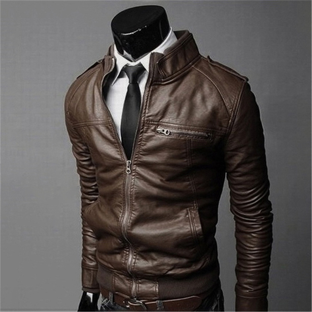 77acfa8479c0d Men 39.s Genuine Lambskin Leather Jacket Slim Fit PU Biker Motorcycle Warm  Coat