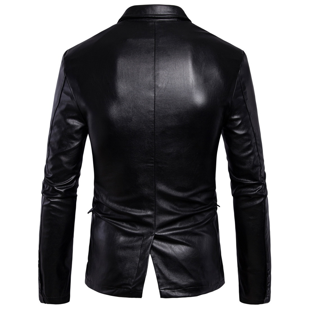 3dea752f4eb Details about Men s Genuine Lambskin Real Leather Blazer Jacket Two Button  Slim Fit Coat 2019