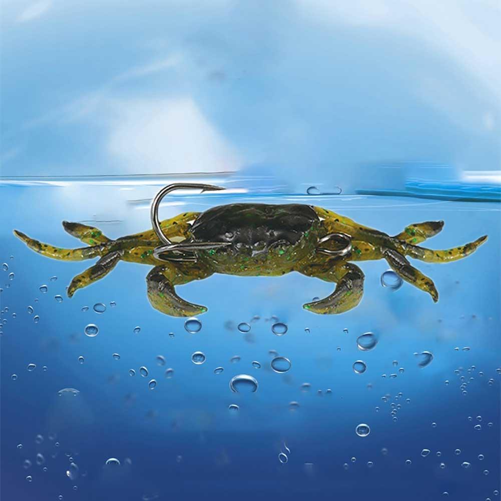 3D weiche Krabben Simulation Fischköder-Wurm lockt Crankbaits Haken Köder Neu~