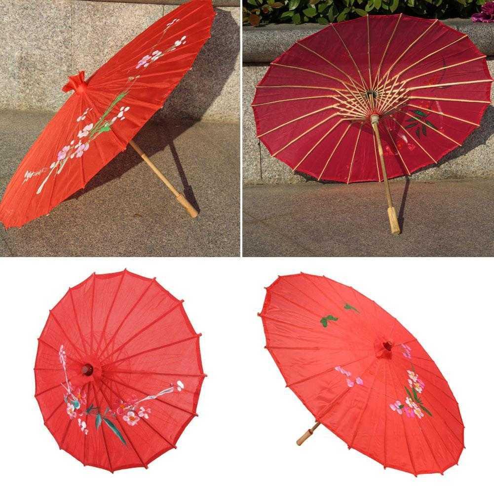 Heißer Weinlese-roter Stoff-Regenschirm-Bambus-chinesischer orientalischer D0O4