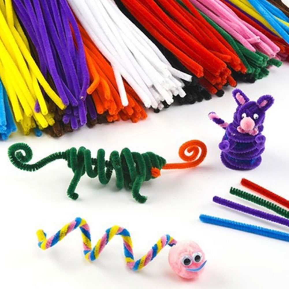 100pcs Glitter Assorted Kids Crafts Chenille Stem Pipe Wire Party DIY Decor
