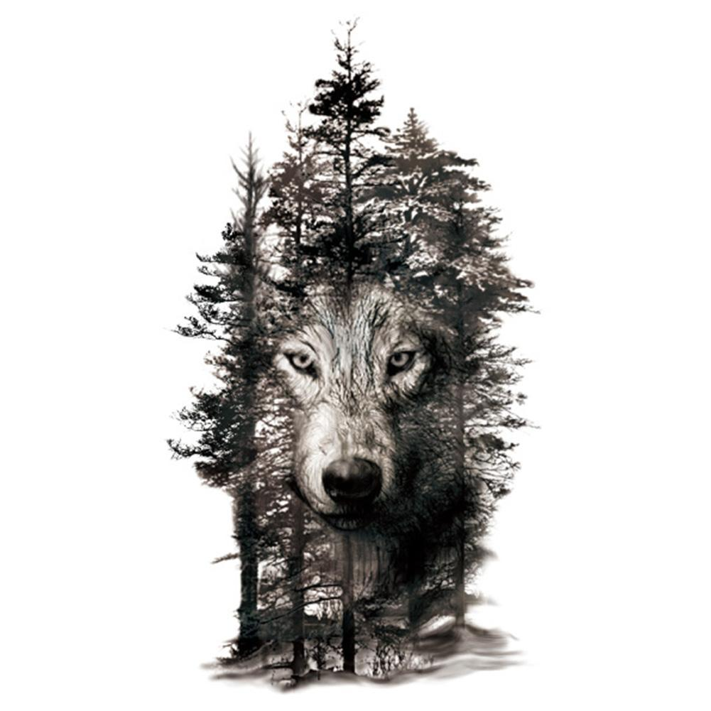 Waterproof Temporary Fake Tattoo Stickers Grey Forest Wolf Animal Large Ebay