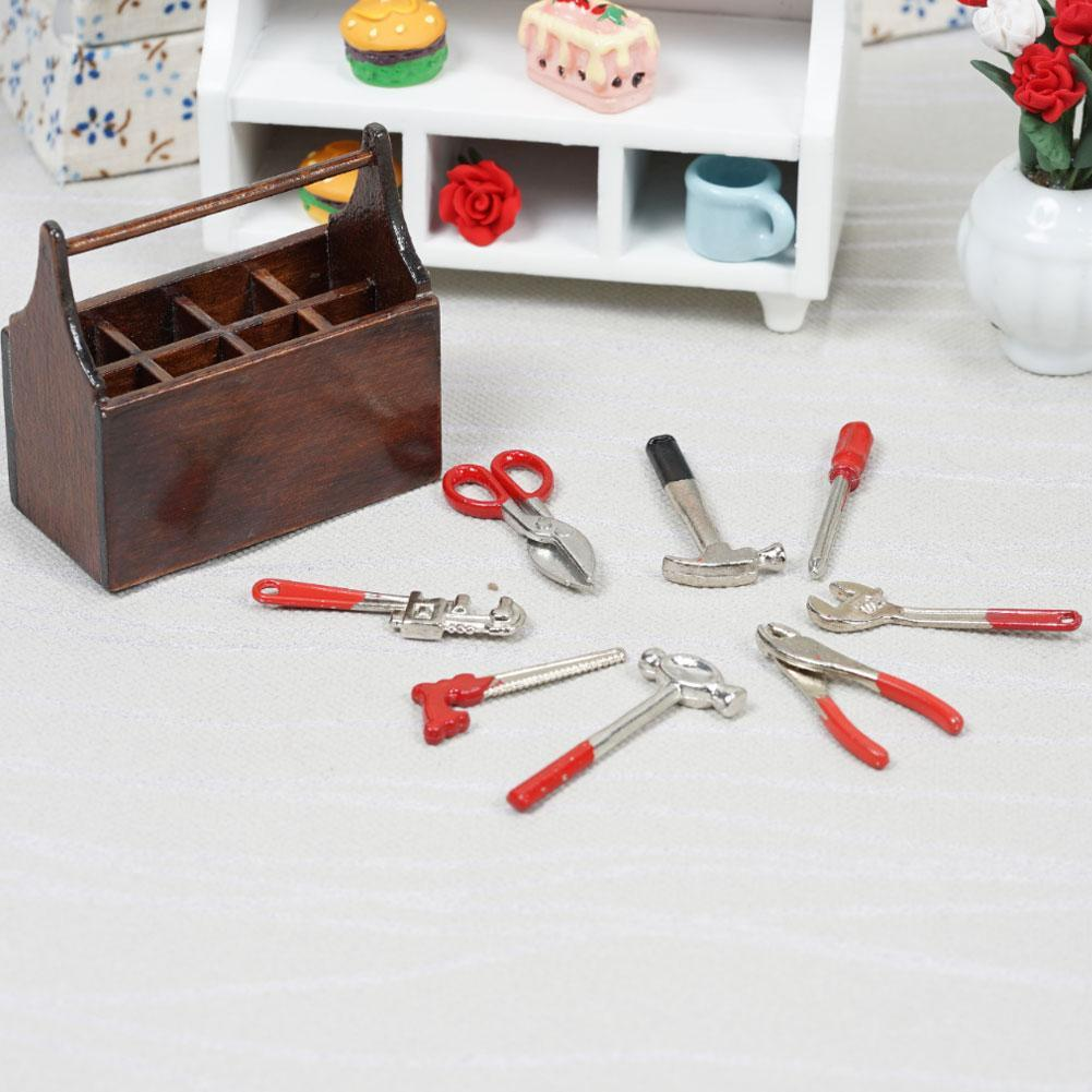 1:12 Dollhouse Miniature Tools Box w// 8 Tools Spanner Screwdriver Pliers Z0D2