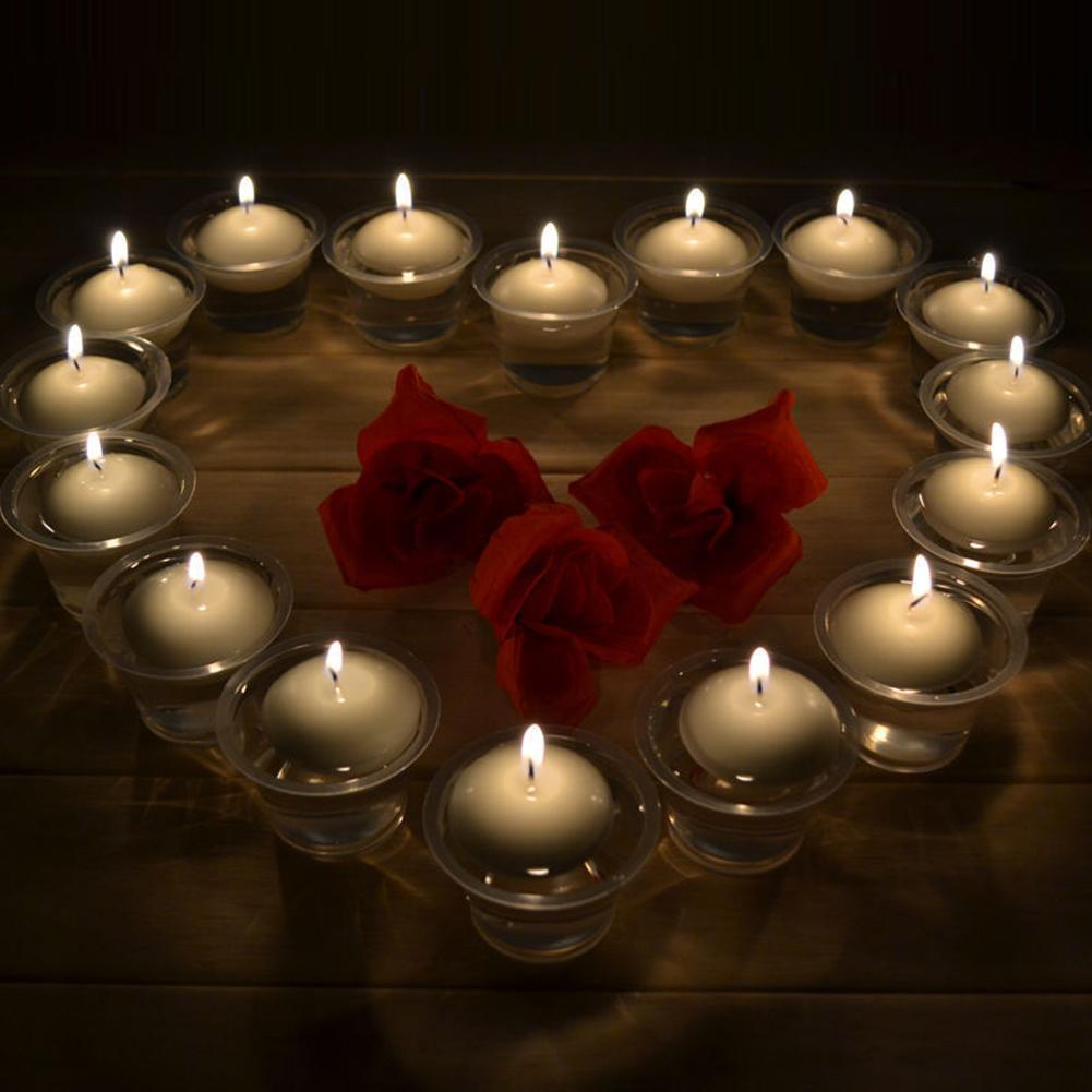 Details About 10Pcs Water Floating Candles Round Romantic Wedding Party Home CandleDecoration