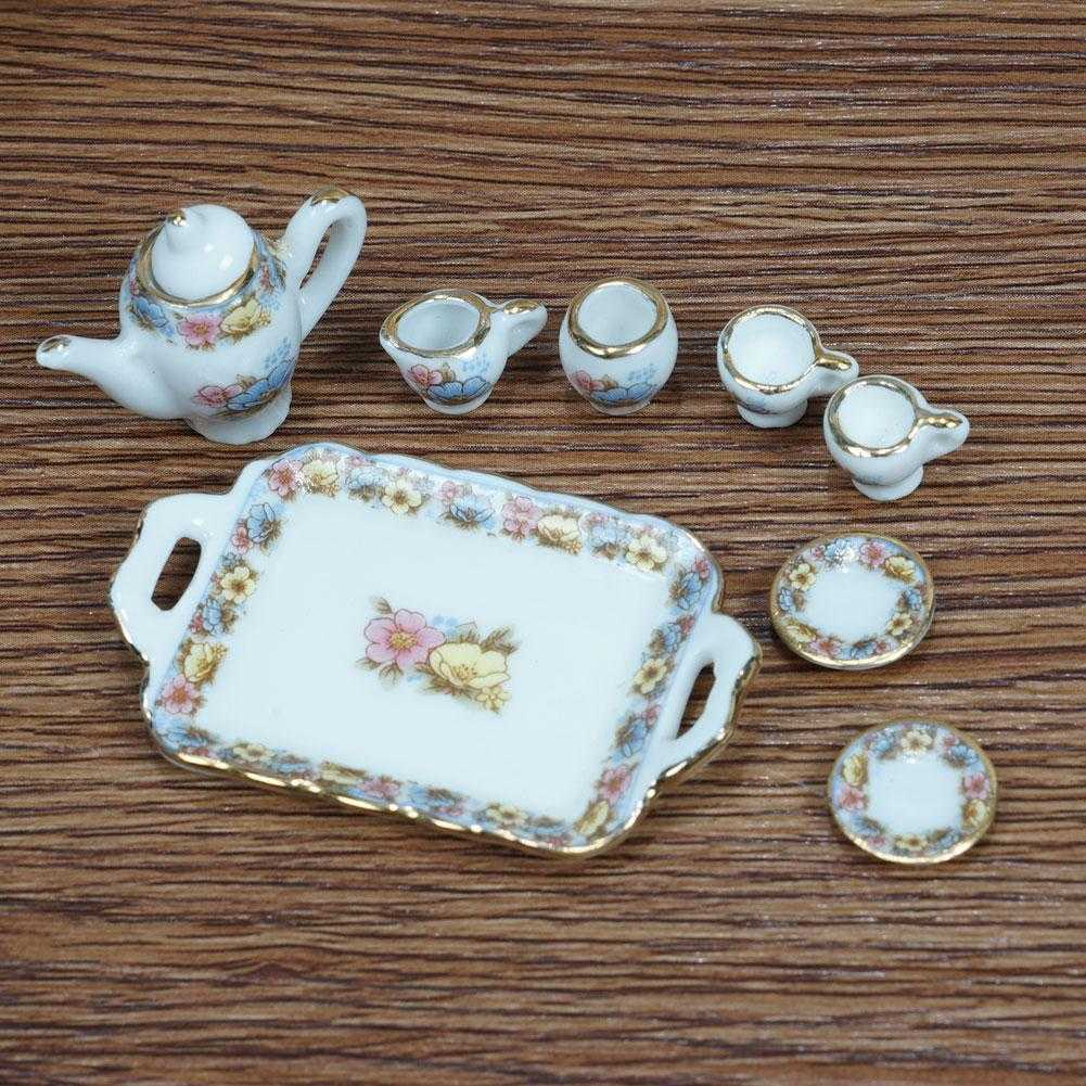 8 STÜCKE Puppenhaus Miniatur Topf Tasse Teller Porzellan Keramik Rose Flo Z6V8