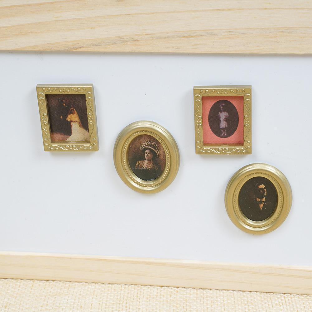 4Pcs//set Golden Plastic Photo Frames DIY 1:12 Miniature Dollhouse Furniture U9R2