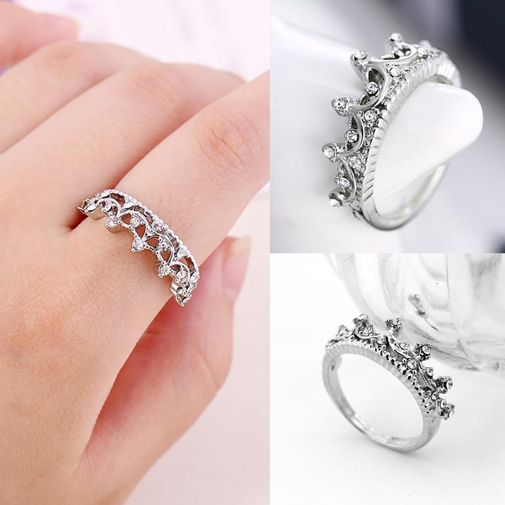 Women Fashion Exquisite Imperial Crown Alloy Wedding Ring Jewelry ...