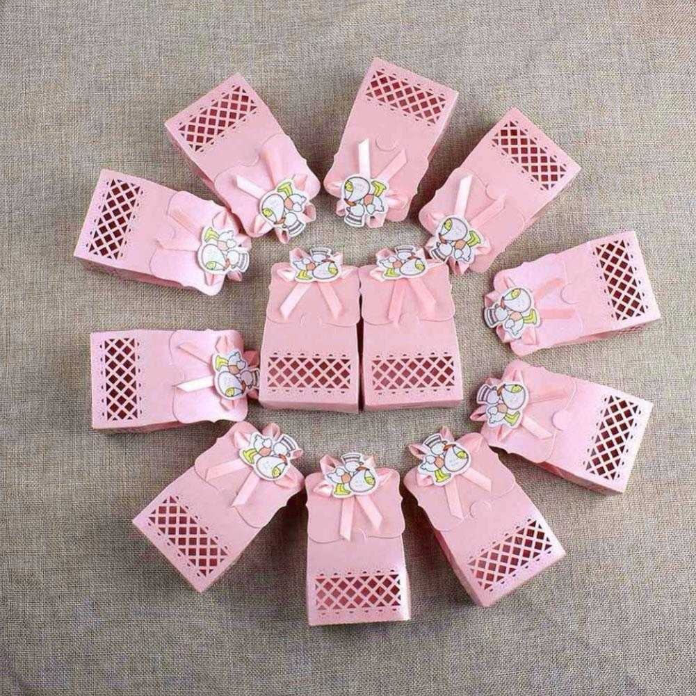 12x Baby Shower Hollow Cut Sweet Candy Cake Boxes Wedding Gift Bags ...