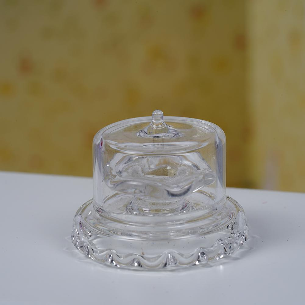Dolls House Miniature Glass Transparent Dessert Pot stand D1U0 Plate Jar P0T9