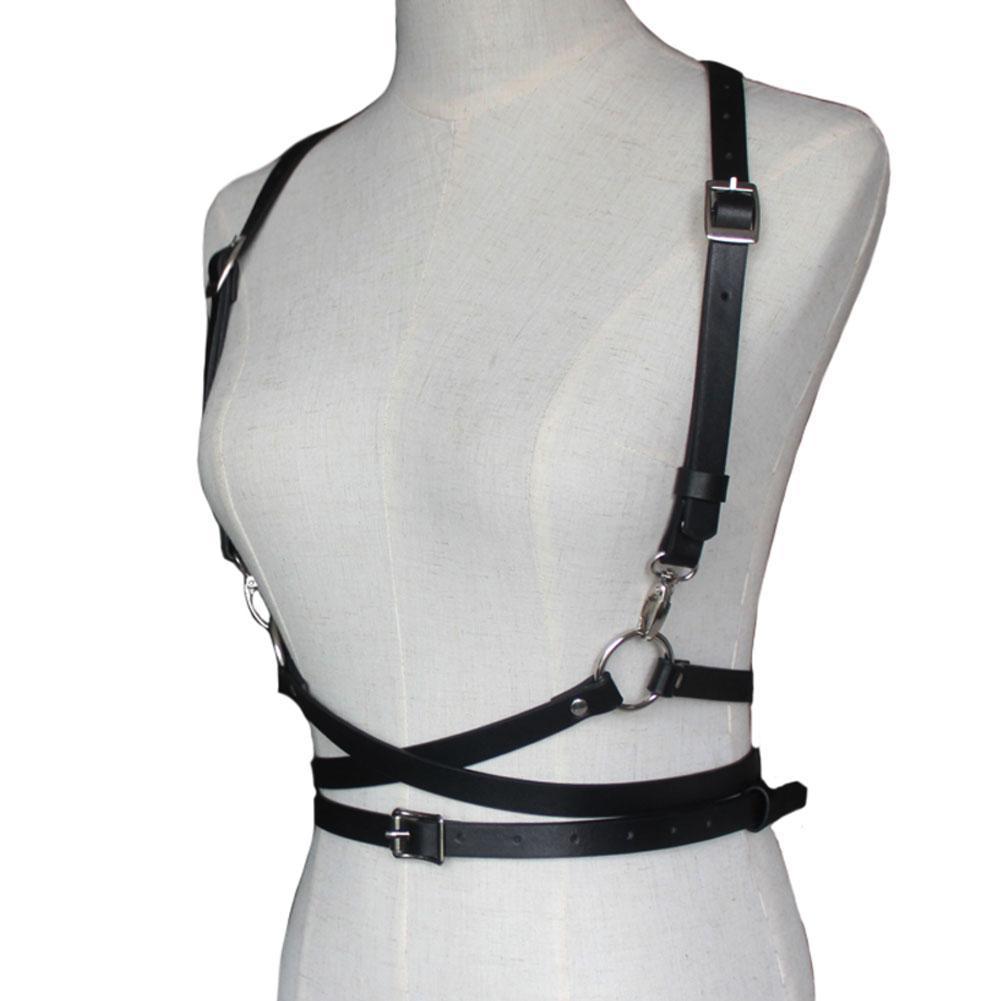 Punk Rock NEU Damen Leder Body Slim Waist Gürtel Strap Aussetzen Harness w